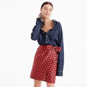 J. Crew Jacquard Heart Wrap Skirt NEW Without Tags